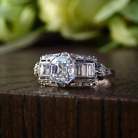 Retro Vintage Art Deco Engagement Wedding Ring 2 Ct Diamond 14K White Gold Cert.