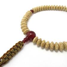 New listing Red Agate & Bodhi tree Wood Lense bead Japanese Juzu Buddhist Prayer beads Kyoto