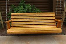 ROLL BACK Amish Heavy Duty 4 ft Cedar Stain Porch Patio Swing Outdoor Furniture