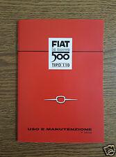 Manuale uso e manutenzione Fiat Nuova 500 N dal 1957 al 1960 Owner's manual
