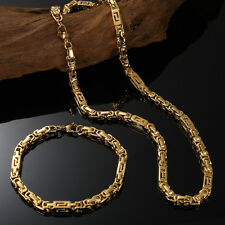 "18K Yellow Gold Filled Mens Byzantine Chain Necklaces Bracelet Set 24""x6mm"