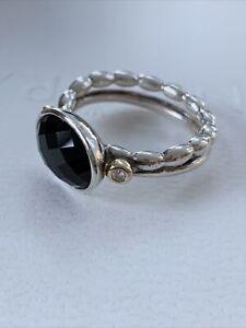 "190839ON-54 Pandora ""Elegant Embrace"" Ring Silver W/ Onyx, 14k Gold & Diamonds"