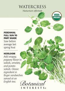 Seed Botanical Interests Organic Watercress 200 mg Seeds Nasturtium officinale