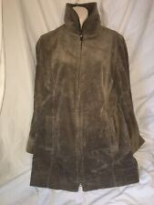 J.Jill Women's Heritage Tumbled Cord Coat Brown Full Zip Size Small