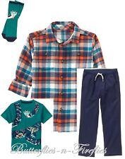 NWT Gymboree 4pc Outfit Set SNAKE Tee Plaid Flannel Shirt Pants Socks Boys M 8