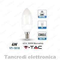 Lampadina led V-TAC 4W = 30W E14 bianco caldo 3000K VT-1818 a candela SMD VTAC