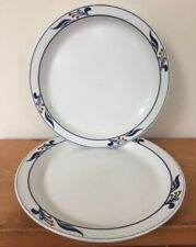 Pair Vtg Dansk Bistro Maribo Blue Red Berry White Porcelain Dinner Plates 10""