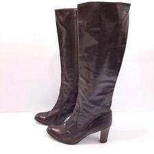 Rosina Ferragamo Schiavone Burgundy Brown Knee Boots Leather Heeled Sz 10 AA VTG