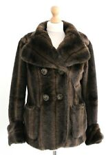 River Island Brown Snuggly Teddy Bear Faux Fur Coat Winter Jacket Size 8 10 S