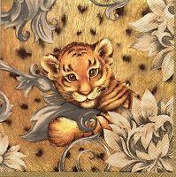 4 Motivservietten Servietten Napkins Tovaglioli Tigerbaby (025) Baseln
