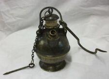Lampe à huile de mineur avec bouchon en liège / bronze massif