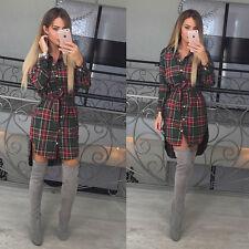 Womens Ladies Tartan Long Sleeve Check Plaid Mini Romper Shirt Dress Long Tops