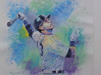 ORIGINAL ACRYLIC PAINTING Alex Rodriguez Arod MLB BASEBALL CONTEMPORARY ART