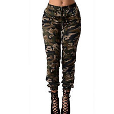Womens Camo Cargo Trousers Casual Skinny Military Army Combat Slim Fit Pants