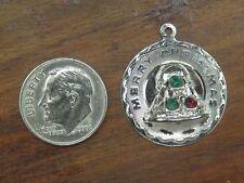 Bell Crystal Pendant Bracelet charm Vintage sterling Merry Christmas Filigree