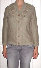 Womens Large Beige Cable Knit Beaded Accent Boho Front Button Cardigan Sweater