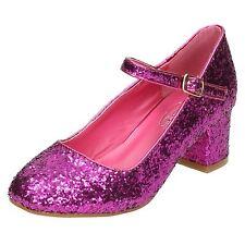 niña Spot On Purpurina Tacones Formal Rosa Negro Plata Fiesta Zapatos h3057