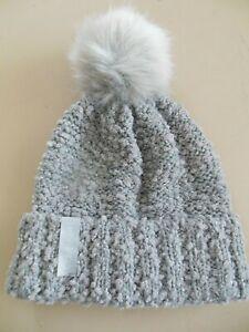 NEW Calvin Klein Boucle Metallic Hat/Beanie w/Pom Pom Gray/Silver One Size