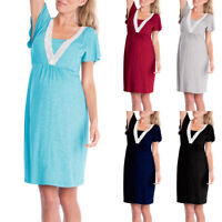 Pregnant Womens Short Sleeve Maternity Pregnancy Casual Tunic Summer Party Dress