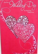 """Traditional Red Hearts """"TO WISH YOU HAPPINESS"""" Wedding Day Card"""