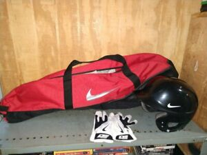 Nike Baseball Batting Gloves, Helmet, & Bat Bag