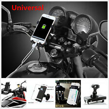 Motorcycle Handlebar Cell Phone GPS Mount Holder USB Charger For iPhone Samsung