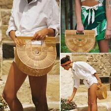 Summer Womens Retro Beach Handbags Ladies Clutch Bag Natural Bamboo Tote Bags