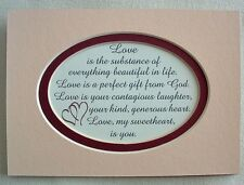 LOVE Laughter GENTLE Touch Sweetheart GIFT God Wife Husband verses poems plaques