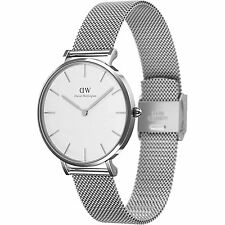 NEW DANIEL WELLINGTON DW00100164 SILVER 32MM PETITE STERLING WHITE DIAL WATCH