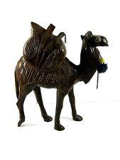 Camel Figurine Hand Carved Wood Wooden Vintage Ornate Neck starting to crack