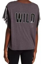 NWT $68 Free People Wild Back Graphic Print Mesh Tee Oversized Gray Small
