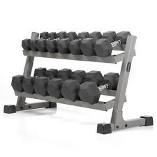 XMark Two Tier  Dumbbell Rack & 380 lbs. of Rubber Hex Dumbbells XM-4455-AND-380