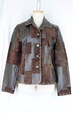 BKE Boutique BUCKLE Coat MEDIUM Patchwork Brown Leather BOHO Lined Pockets
