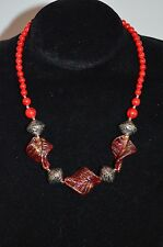 Red Alaqueca & Coloured Glazed Glass Necklace with Silver Embellishments