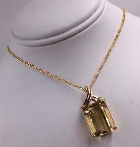 "14K YELLOW GOLD 6.76CT CITRINE PENDANT NECKLACE 18"""