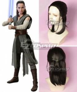 Star Wars The Last Jedi Rey Black Brown Cosplay Wig