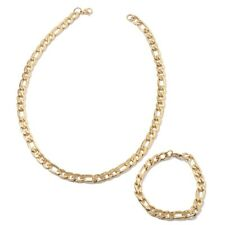 Ion Plated Gold Stainless Steel Men's Figaro Necklace & Bracelet Set