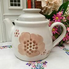 DENBY 1970s GYPSY STONEWARE LARGE TEAPOT 2 PINTS - RETRO ABSTRACT PINK FLORAL
