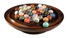 "Solitaire Wooden Game Solid Semi-Precious Gemstone 30mm (1.18"") Marbles"