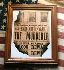 ABRAHAM LINCOLN ASSASSINATION John Wilkes Booth Wanted Poster Antiqued Parchment
