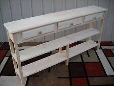 "Unfinished 60"" Sofa,Console,Beveled Edge Style Pine table w/2Shelves & 3 Drawers"