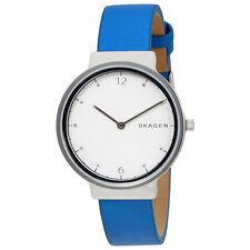 Skagen Ancher White Dial Ladies Blue Leather Watch SKW2610