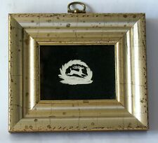 Antique miniature paper cut in old lemon gold frame J. Honeywell CA. 1835