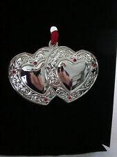 Harvey Lewis Silver Metal Double Heart Ornament w/ Red Swarovski Crystals, Nib