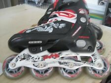 Worn 1X Boys Sz 1-4 Mongoose 082B Red Black Rollerblade In Line Skates Skull