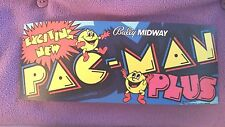 Pac Man Plus marquee sticker. 3.5 x 9.25. (Buy any 3 stickers, Get One Free!)