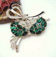 Crown Trifari Jeweled Symphony Green Clear Rhinestone Brooch Pendant Silver Tone