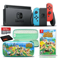 Nintendo Switch Console Bundle with Animal Crossing Game, Case, and 64GB Card