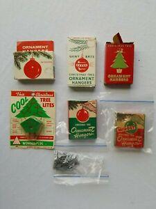 Vintage Christmas Tree Ornament Hook Box Lot  & Cool Plug