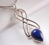 Lapis Double Infinity 925 Sterling Silver Pendant Corona Sun Jewelry
